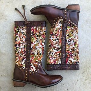 Spring Step Tapestry woven crocheted boots brown